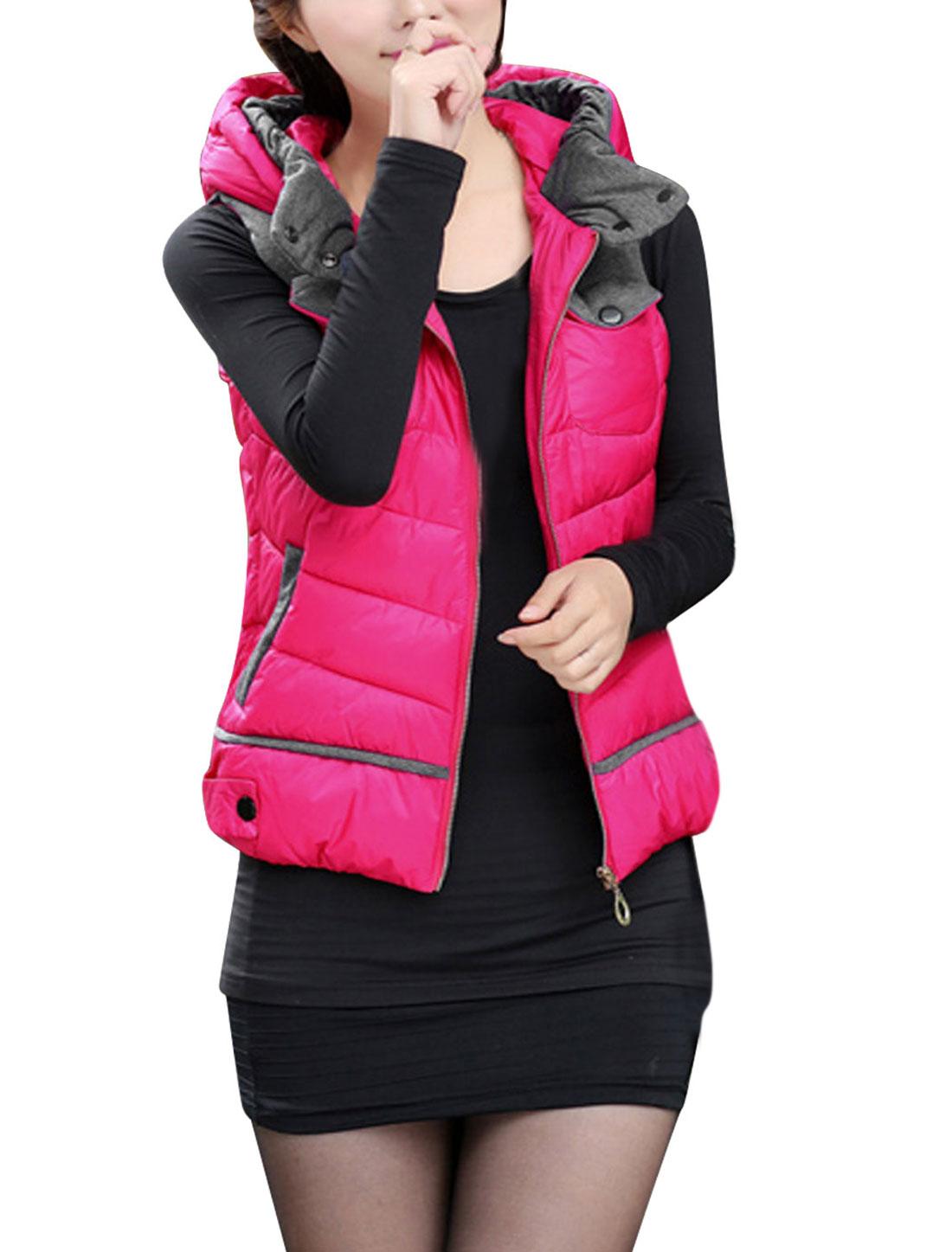 Women Fashion Style Snap Buttons Zip Up Hooded Gilet Fuchsia L