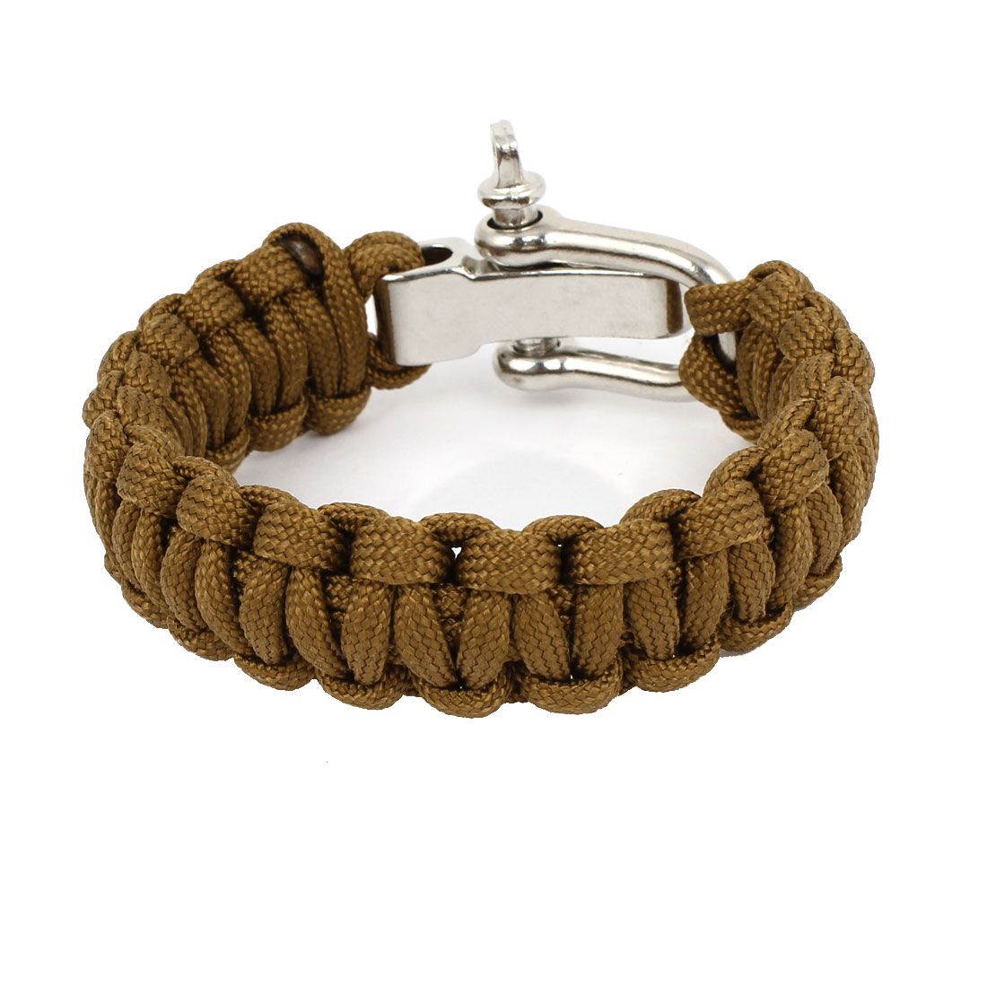 Outdoor Camping Brown Nylon Weave Textured Self-Rescue Cord Survival Bracelet