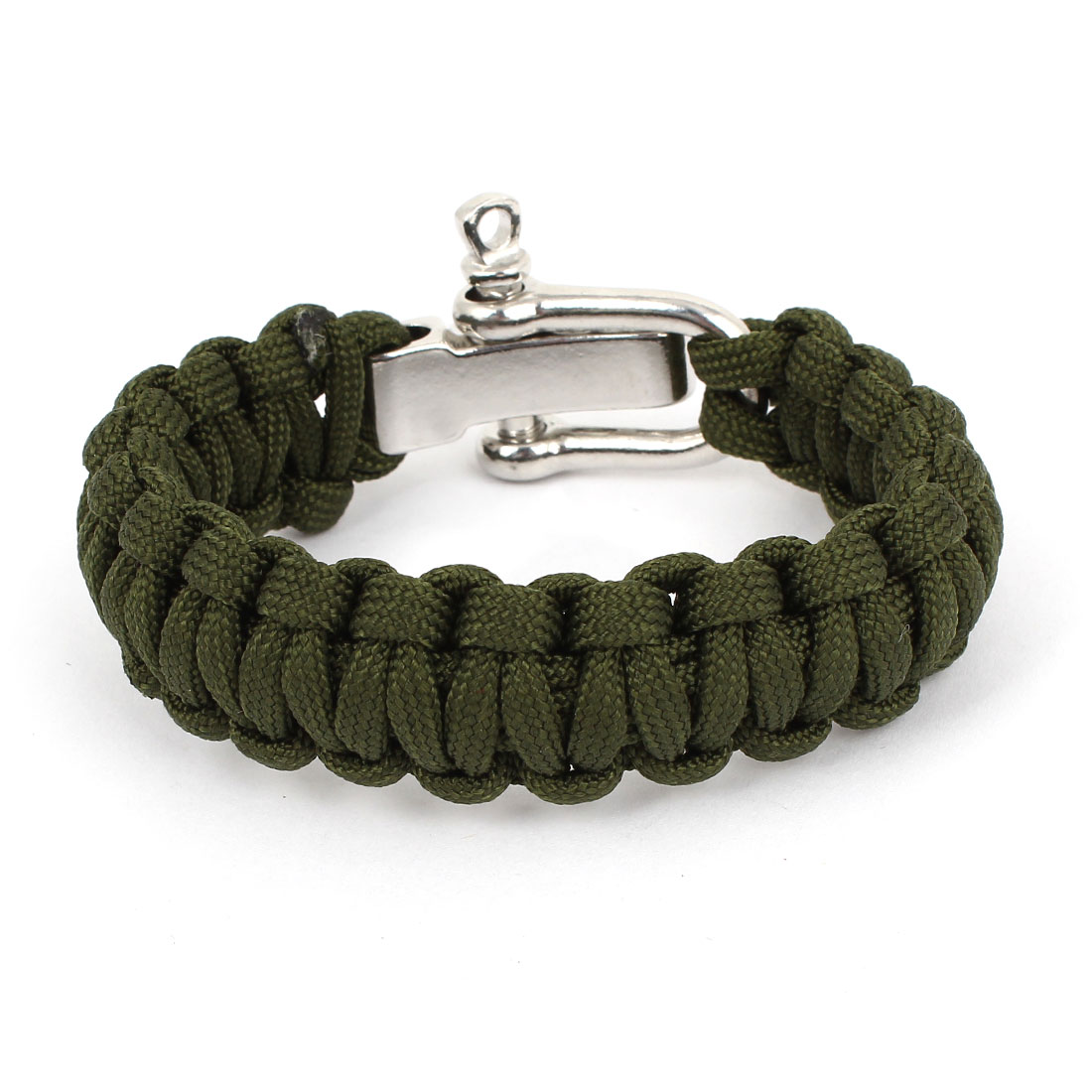 Outdoor Camping Army Green Nylon Weave Textured Self-Rescue Cord Survival Bracelet