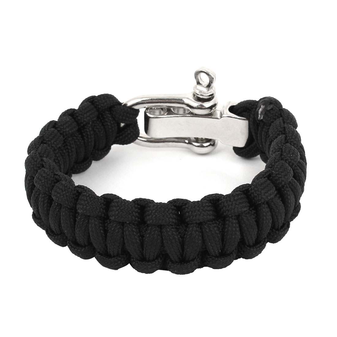 Black Nylon Quick Release Weave Cord Survival Bracelet Shackle Camping Kits