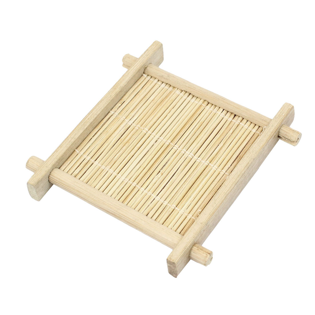 Home Square Shaped Wood Stripe design Wooden Dinner Table Pad Mat