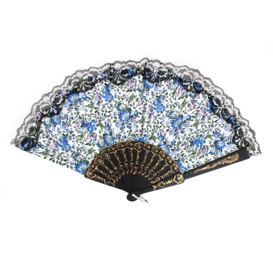 Summer Portable Plastic Ribs Blue Floral Pattern Dancing Hand Fan for Lady