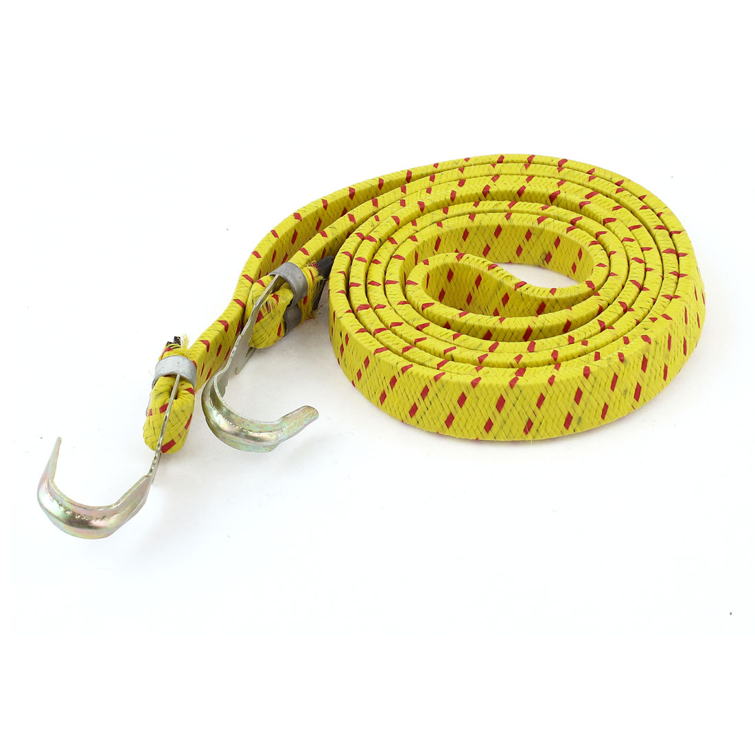 Bicycle 2 Hooks Yellow Stretchy Luggage Rope Cord 153cm Long 5ft