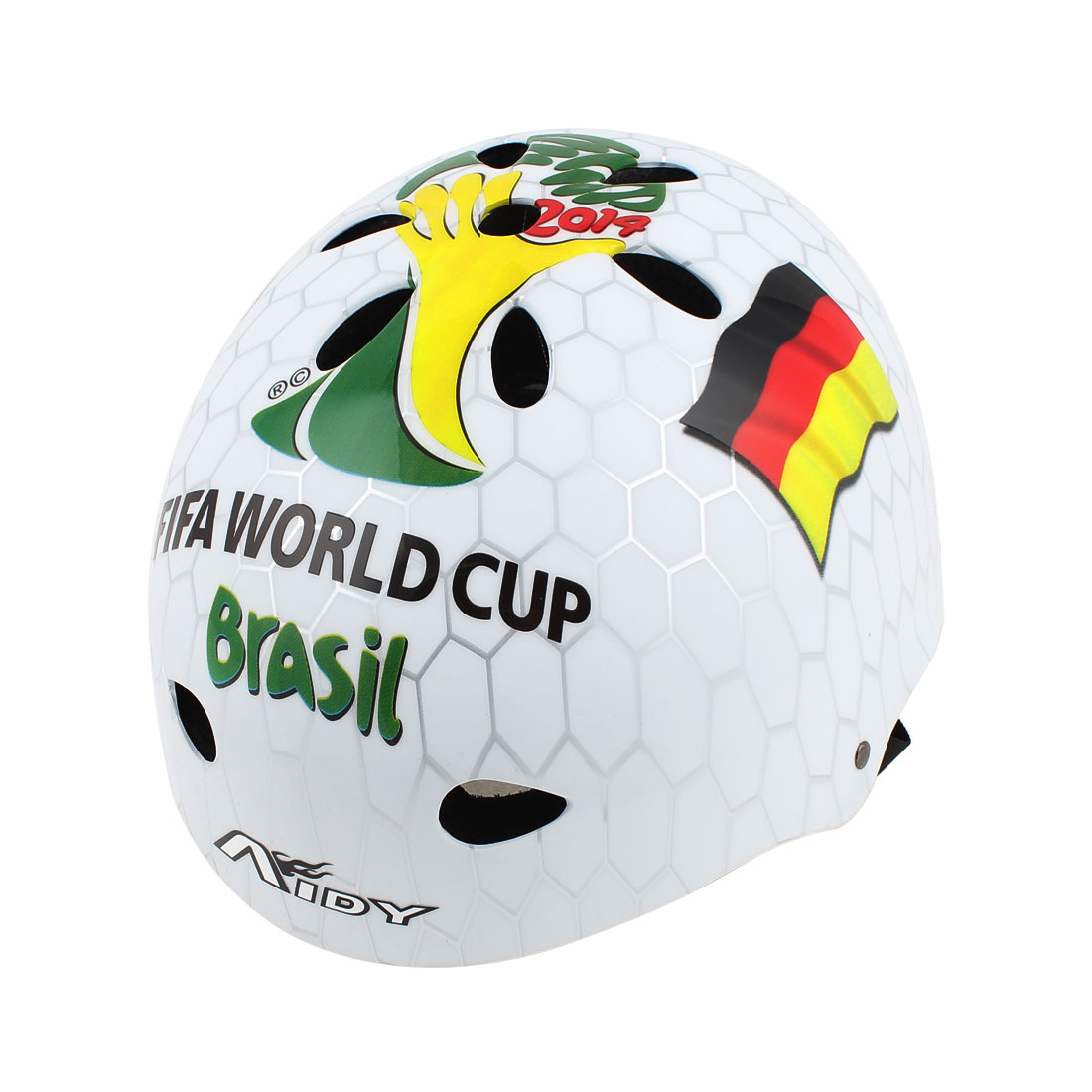Fifa World Cup Brazil Print Bicycle Cycling Skating Helmet Shield White