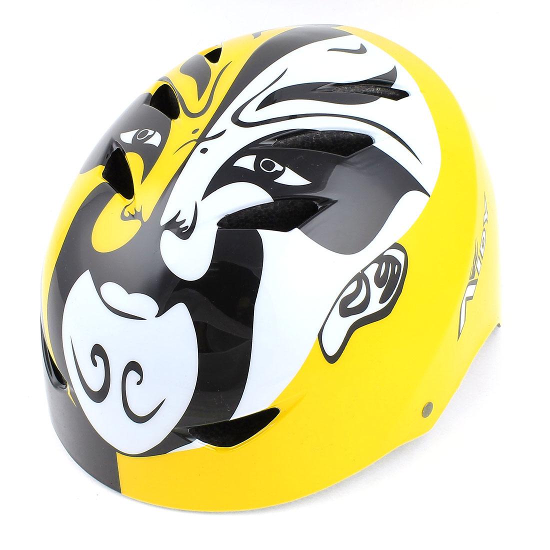 Peking Opera Mask Print Bike Bicycle Cycling Protective Snowboard Skating Helmet Yellow
