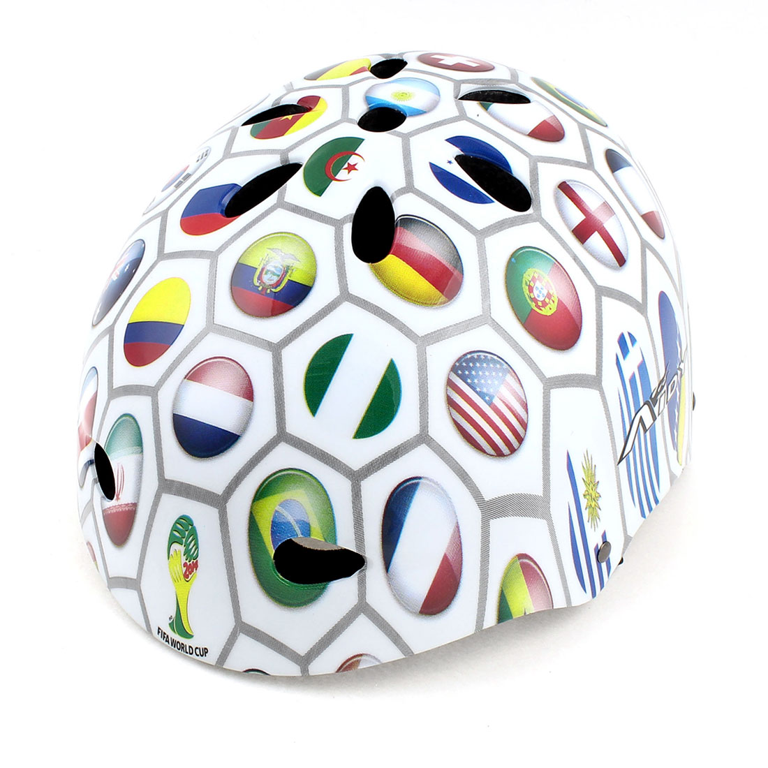 World Cup National Flag Print Bike Bicycle Cycling Protective Snowboard Skating Helmet White