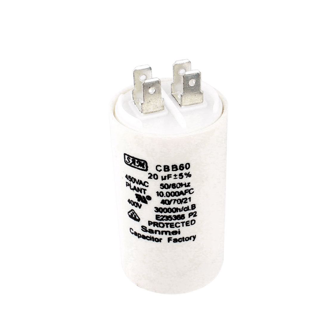 AC 450V 20uF 5% Tolerance 4 Terminals Cylinder Shaped Polypropylene Film Machine Motor Run Capacitor CBB60