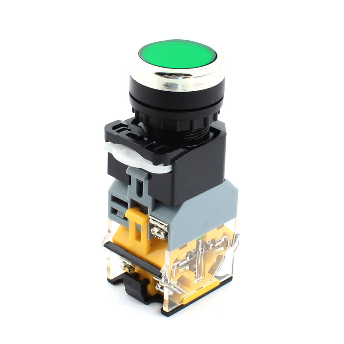 AC220V 22mm Dia Thread Panel Mount DPST 1NO 1NC 6 Screw Terminal Momentary Green Pilot Lamp Plastic Pushbutton Switch