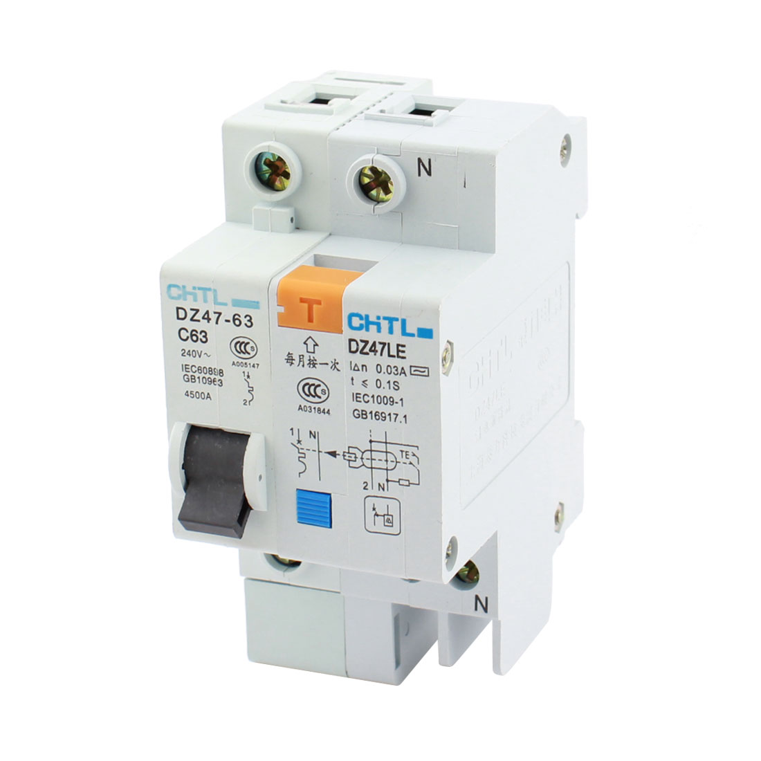 AC 240V 63A 4500A 35mm DIN Rail Mount Single Pole On/Off Switch Mini Circuit Breaker Overload Protector DZ47-63