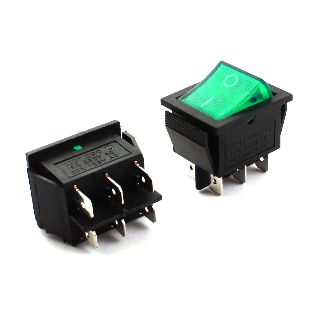 2 Pcs AC 250V/125V 15A/20A DPDT 6-Pin ON-OFF Snap in Mounting Green Button Boat Rocker Switch