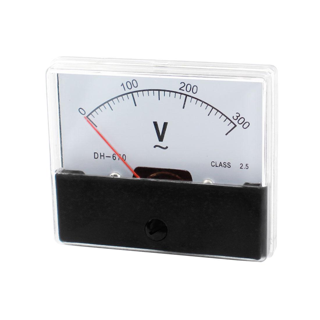 School Lab AC 0-300V Measuring Range Voltage Testing Panel Mount Rectangle Plastic Analog Voltmeter DH-672