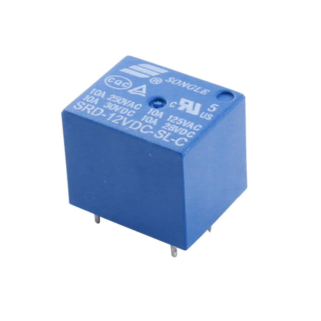 SRD-12VDC-SL-C DC 12V Coil 5 Pin Blue Plastic Housing General Purpose Power Relay
