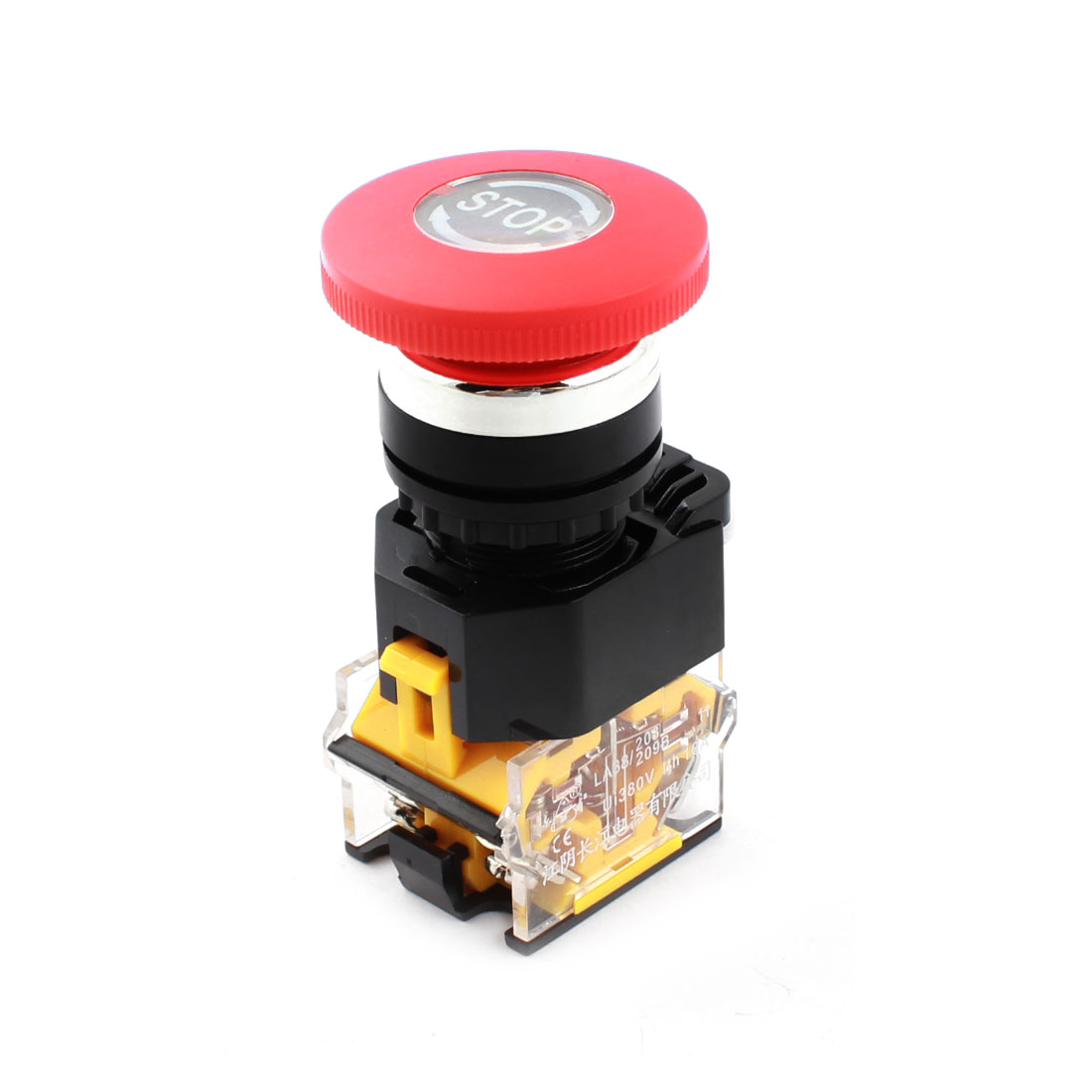AC380V 10A 22mm Dia Thread Panel Mount DPST 1NO 1NC 4 Screw Terminal Mushroom Push Button Switch