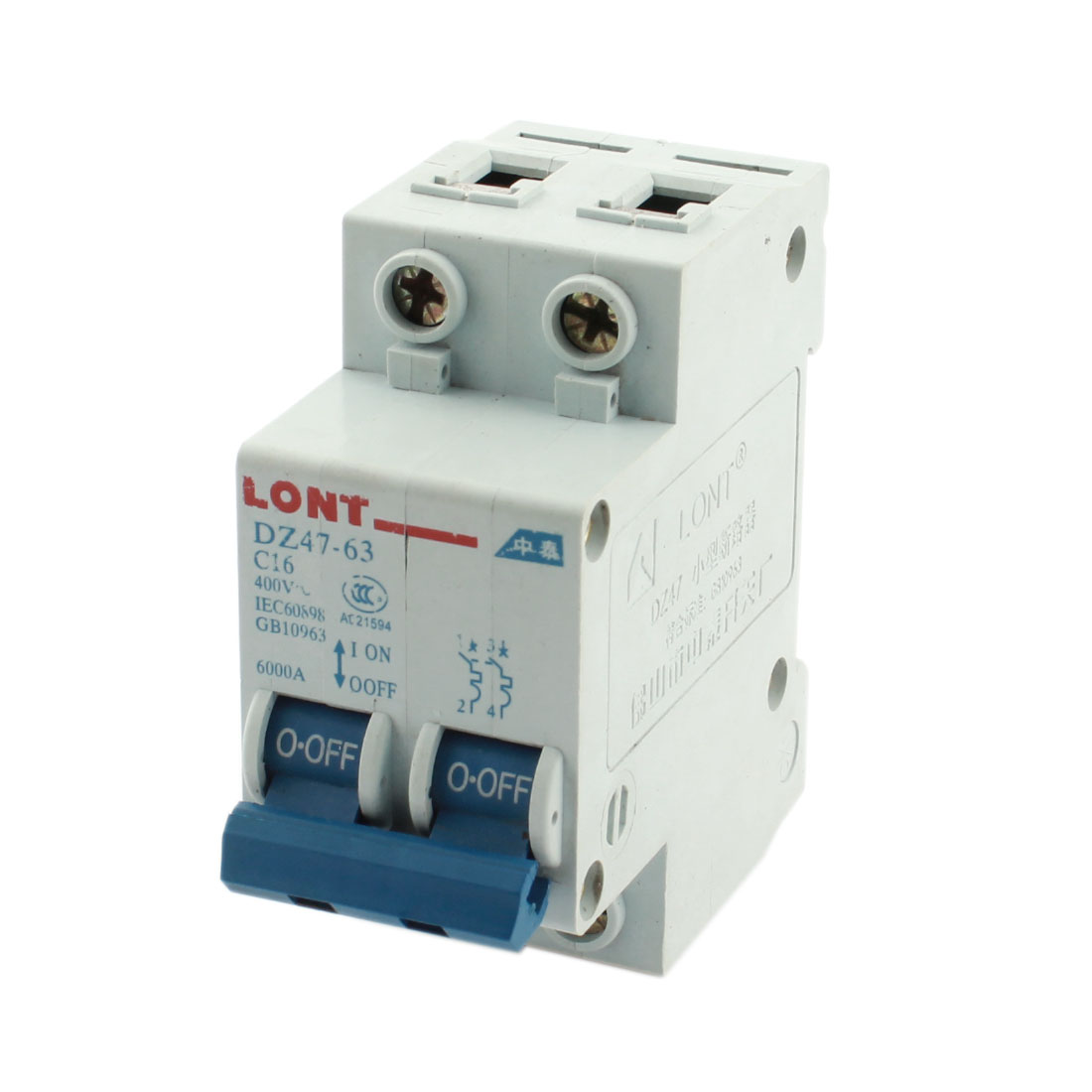 AC 400V 16A 6000A 35mm DIN Rail Mount Dual Pole Overload Protector Mini Circuit Breaker White DZ47-63