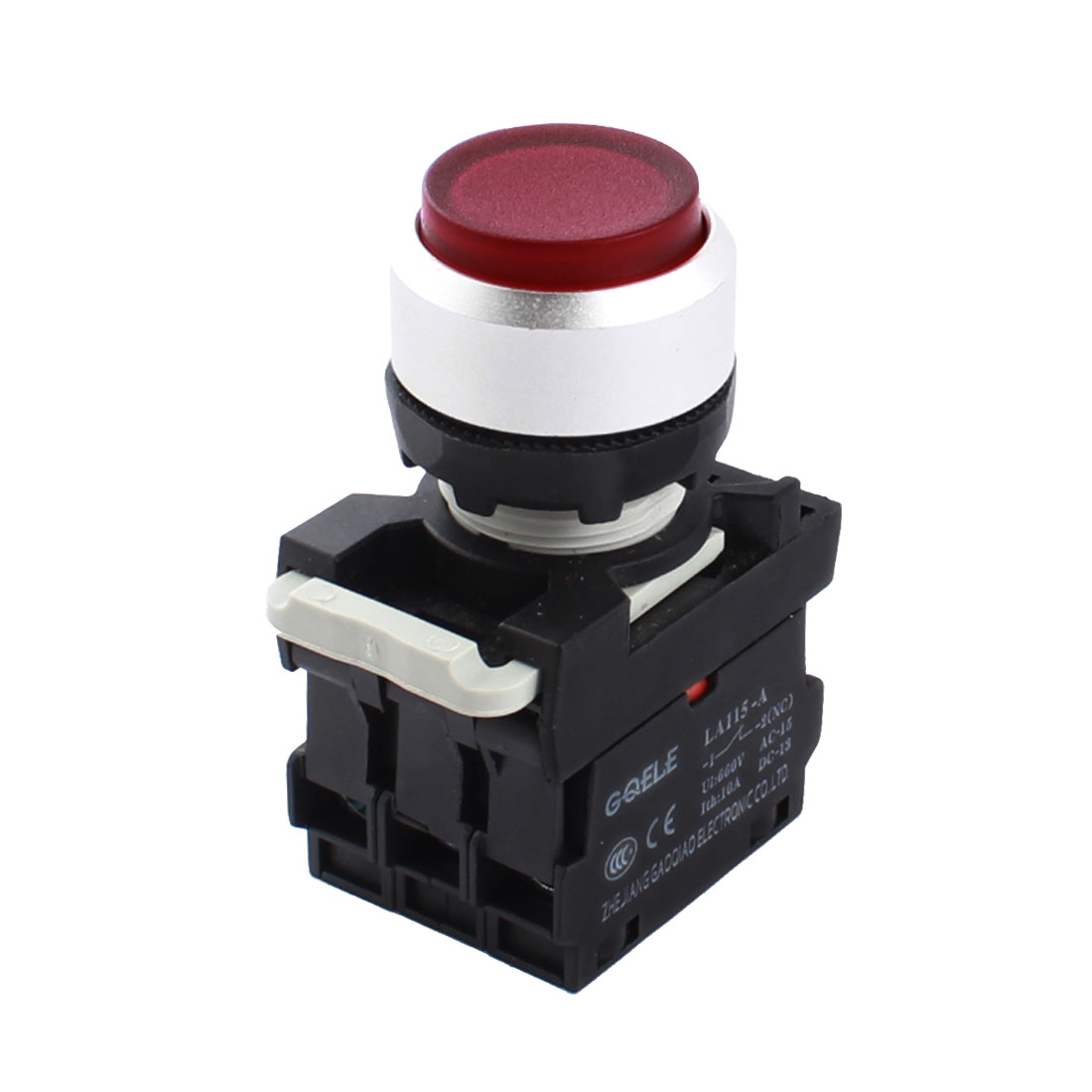 AC220V 22mm Thread Panel Mount DPST 1NO 1NC 6 Screw Terminal Momentary Control Red Lamp Plastic Pushbutton Switch