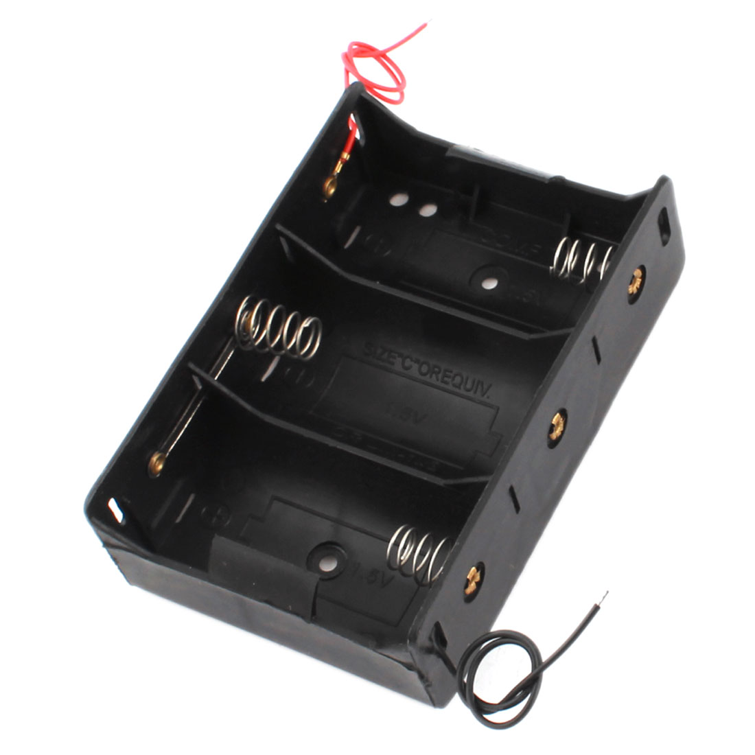 Spring Loaded Black Plastic 3 x 1.5V Size D Battery Case Holder Storage