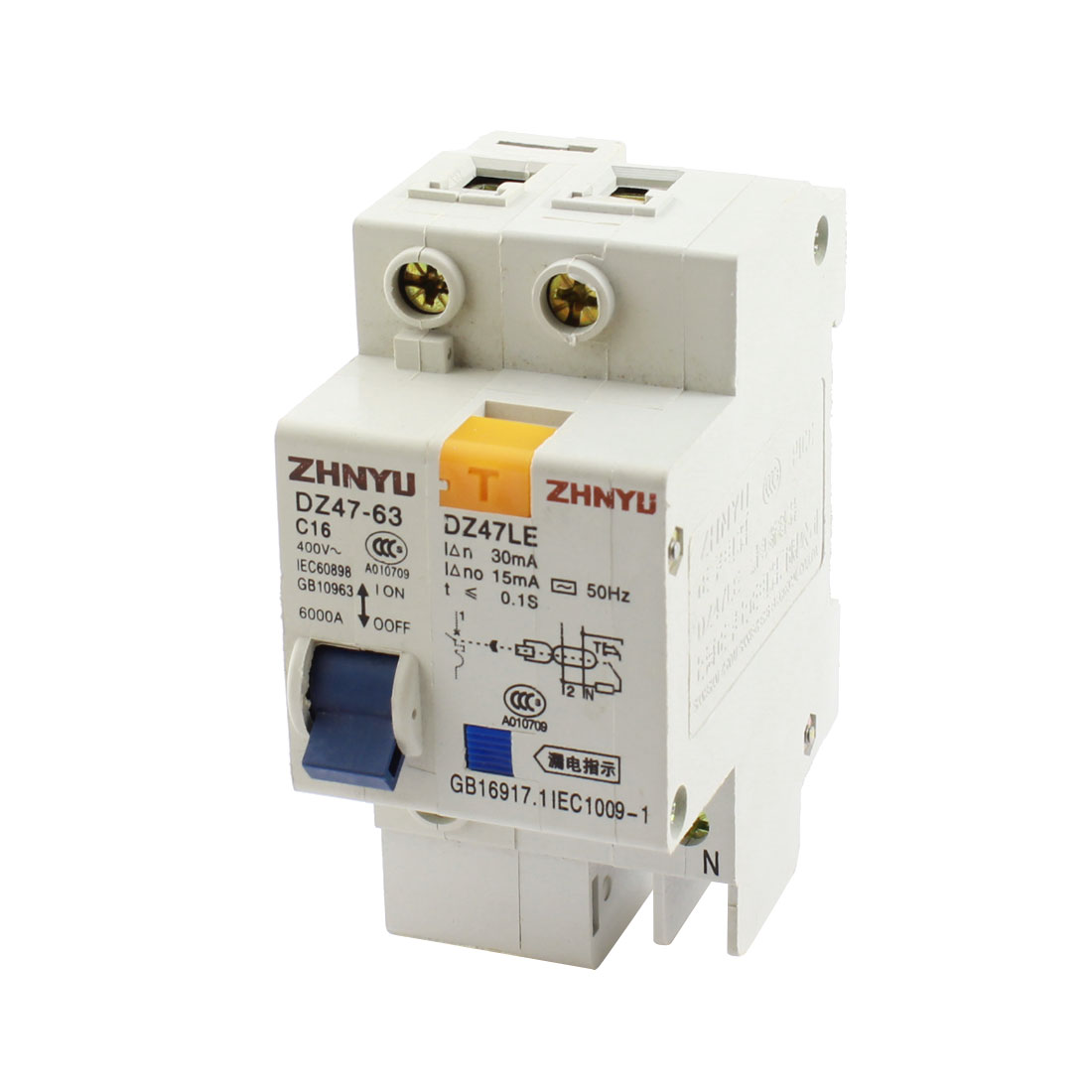 AC 400V 16A 35mm DIN Rail Mounting On/Off Switch 2-Pole 4 Screw Teminal Electric Leakage Protector Mini Circuit Breaker