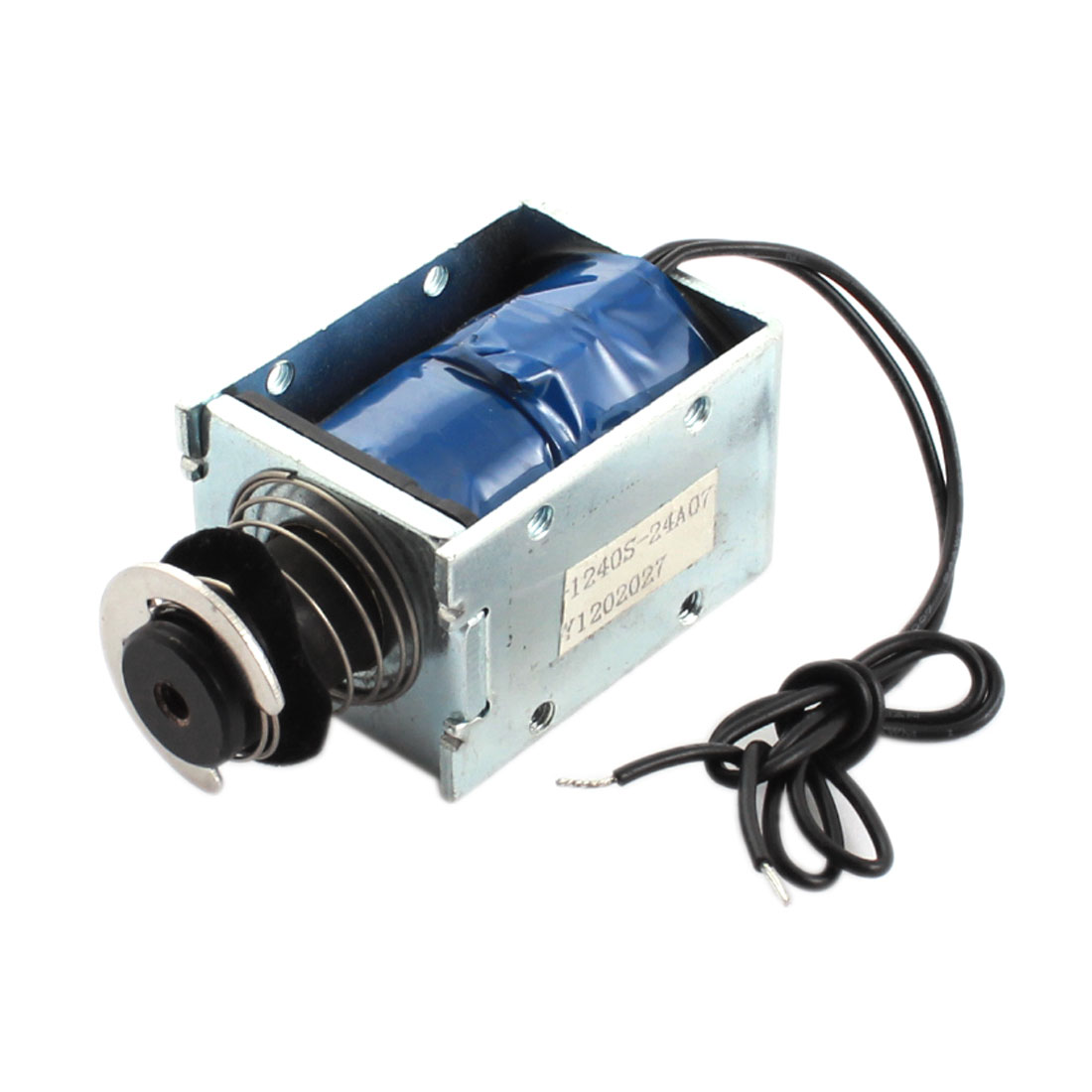 DC 24V 3.42A 82.28W 10mm 1200g Open Frame Spring Plunger Linear Motion Push Pull Type Solenoid Electromagnet Actuator