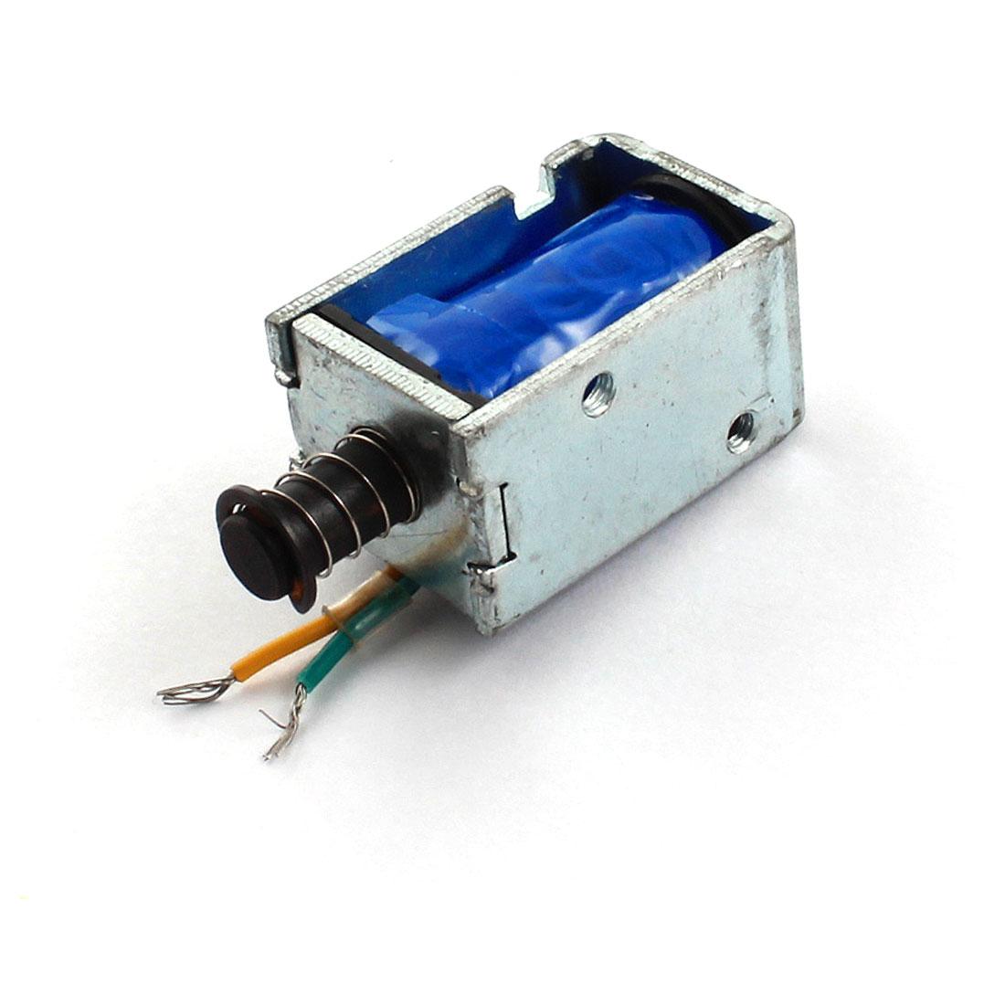 DC 12V 6mm Stroke 100g Force Open Frame Spring Plunger Linear Motion Push Pull Type Solenoid Electromagnet