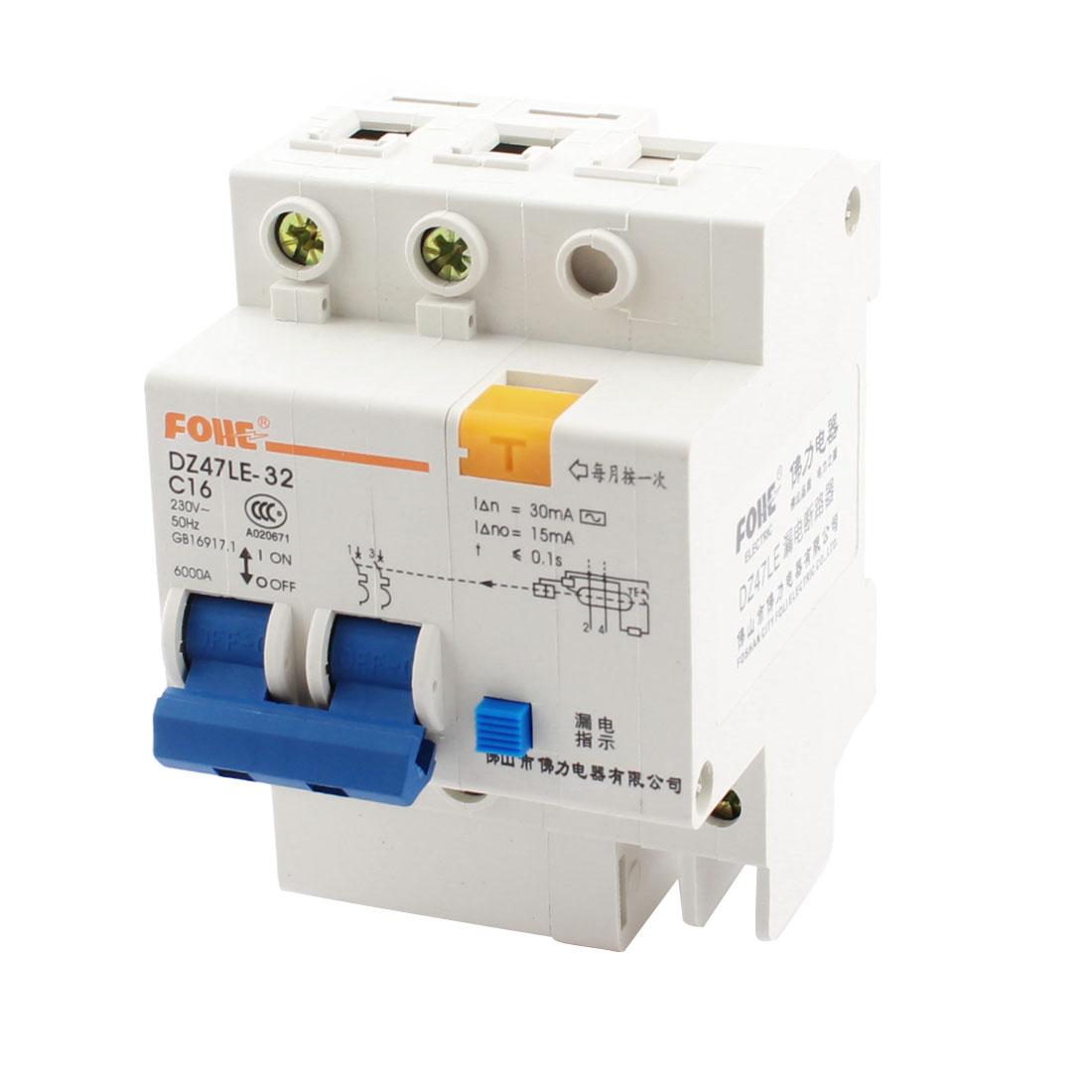 AC230V 16A DZ47LE-32 2 Phase 6kA Overload Circuit Breaker w Lead Rail