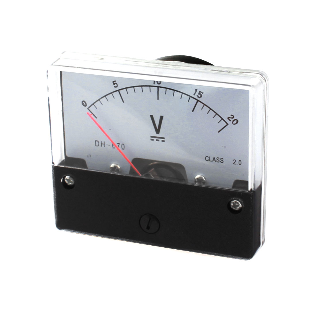 DC 0-20V Class 2.0 Rectangle Clear Plastic Panel Mount Gauge Voltmeter Voltage Meter for Lab