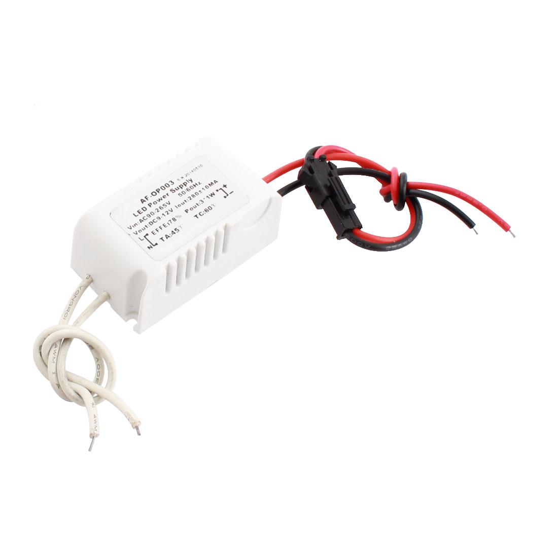 AC 90-265V Input DC 9-12V Output White Power Supply Driver for 3x1W LED Light