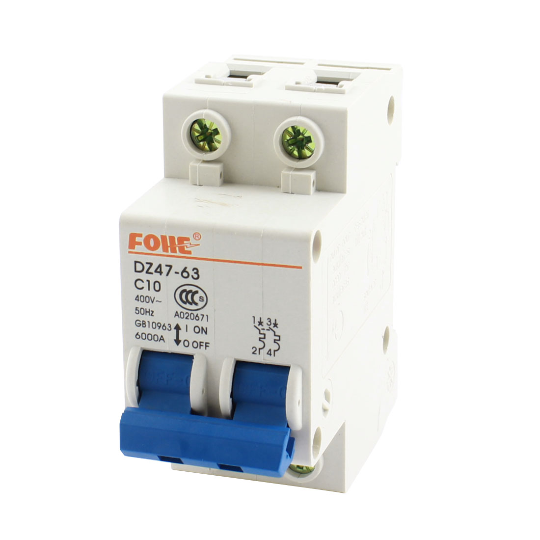 DZ47-63 AC400V 10A 6000A 35mm DIN Rail Mount 2Pole Overload Protection Miniature Circuit Breaker