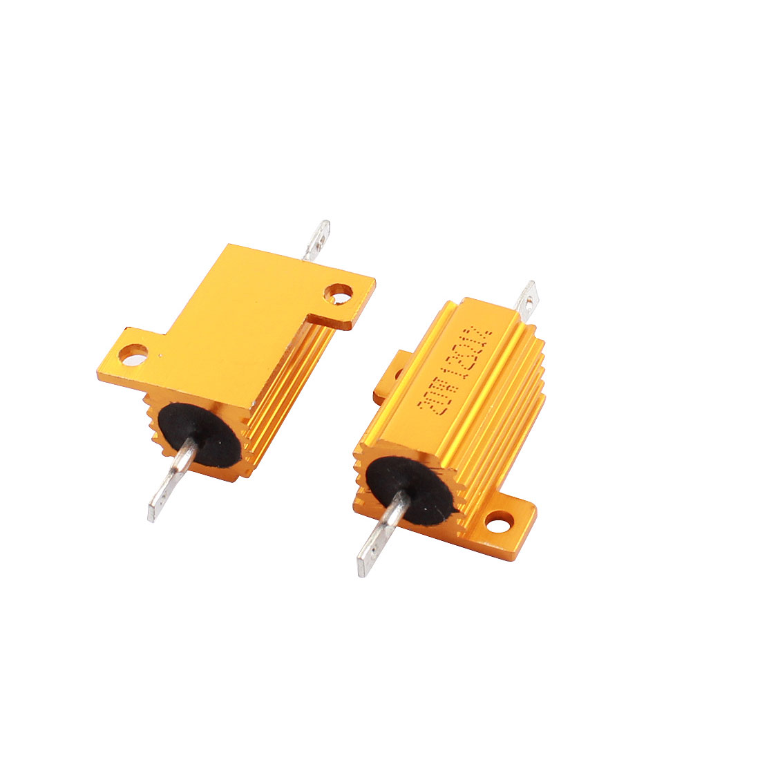 2pcs 20W Power 12 Ohm Resistance Value 1% Tolerance Yellow Aluminum Housed Clad Resistors