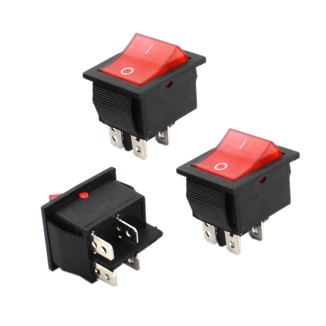 3Pcs AC 220V/5A 4 Pin SPDT ON/OFF Red Head Power Control Boat Rocker Switch