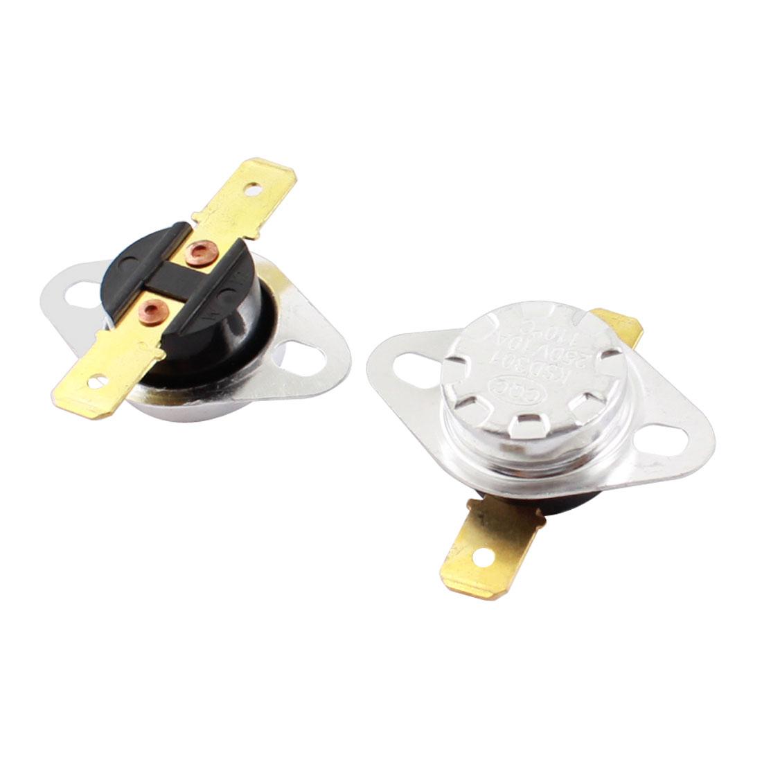 2Pcs KSD301 AC 250V 10A 110C Temperature Control Switch Thermostat Sensor Protector