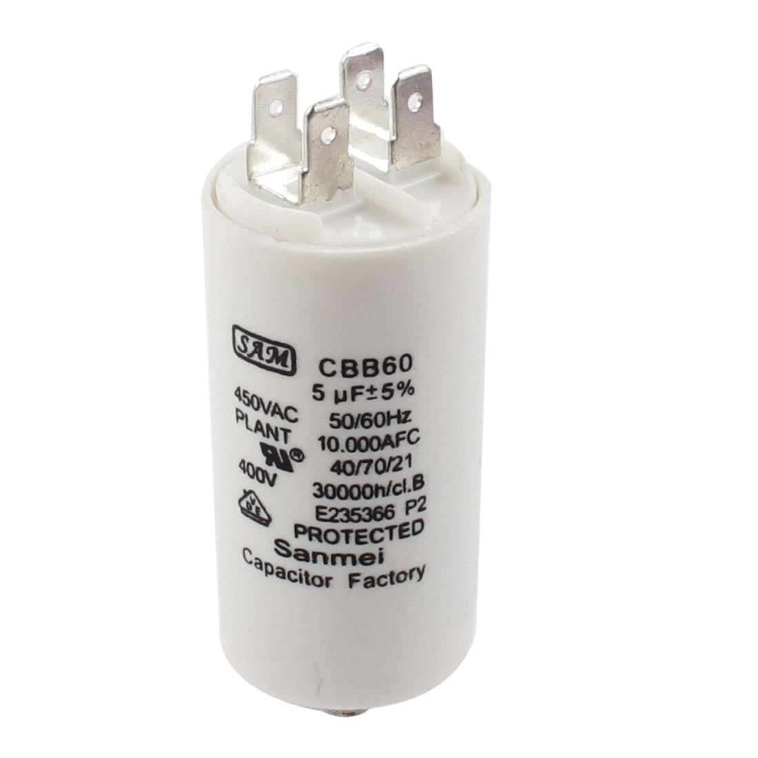 5uF AC450V 5% CBB60 Non Polar 4 Pins Washers Motor Run Capacitor