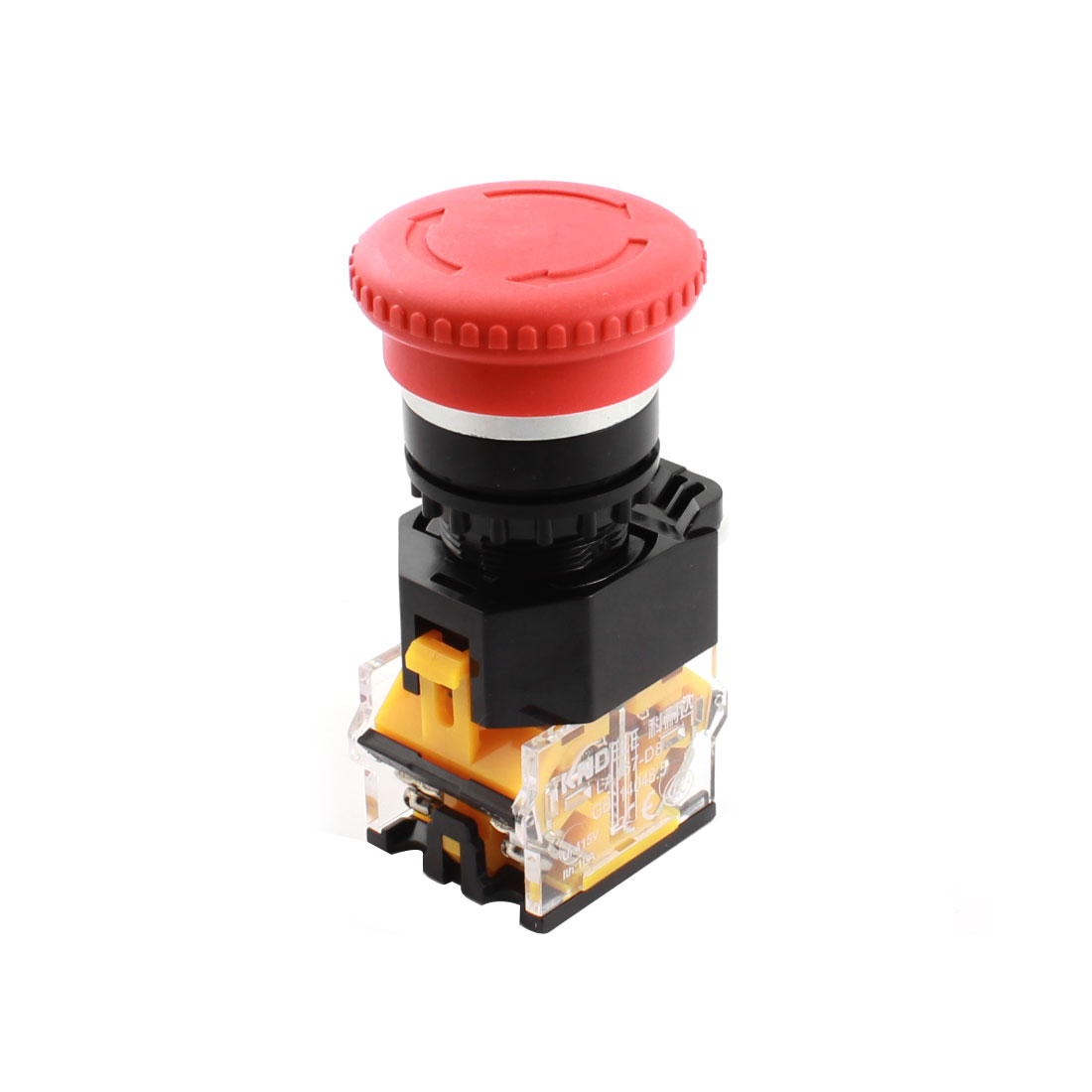 AC415V 10A 1 N/O N/C Red Rotary Locking Mushroom Head Ignition Push Button Switch