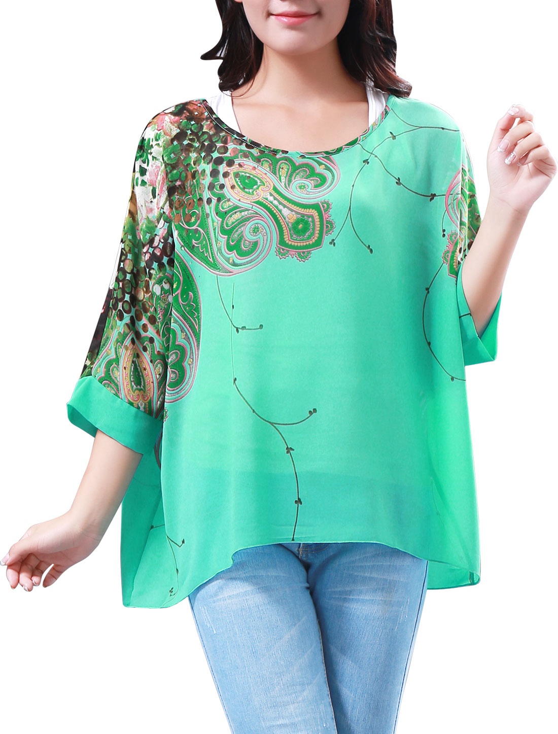 Lady Novelty Print Scoop Neck Loose Chiffon Tunic Top Green XS