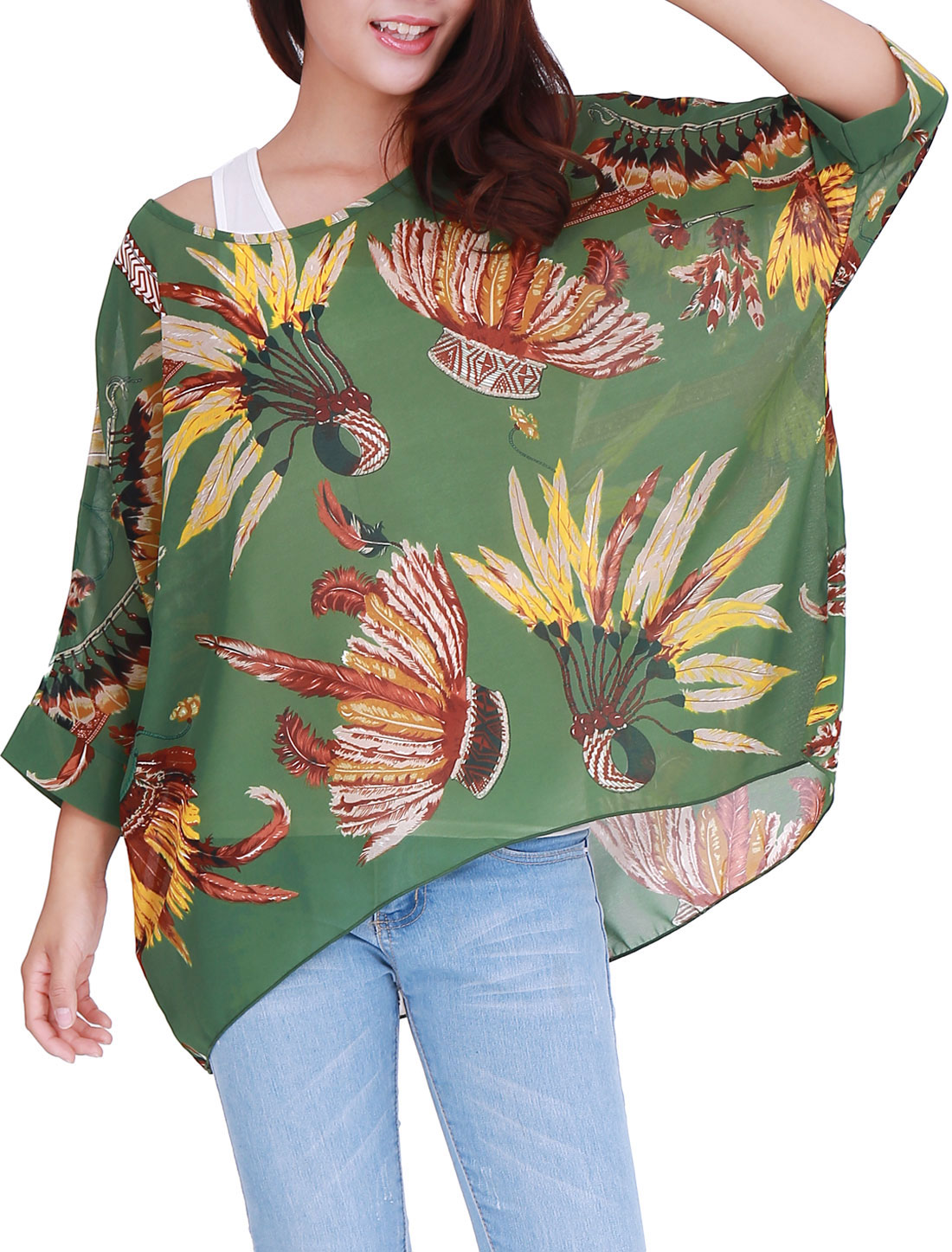 Ladies Feathers Pattern Asymmetric Hem Stylish Chiffon Top Green XL