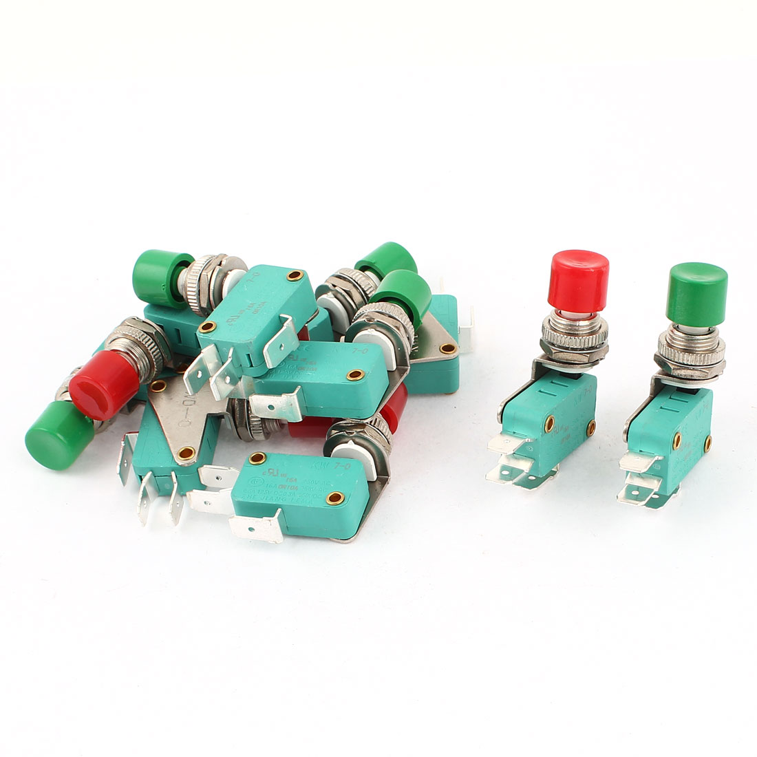 10 Pcs Green Red Push Button Momentary SPDT Micro Switch AC 250V/125V