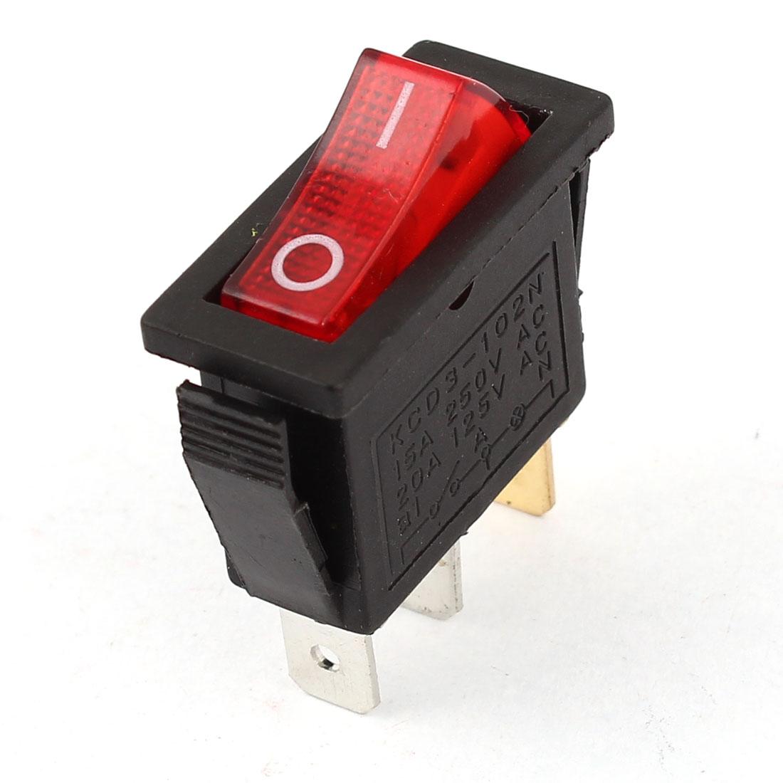 KCD3-102N Red Light SPST ON/OFF Rocker Switch AC 15A/250V 20A/125V
