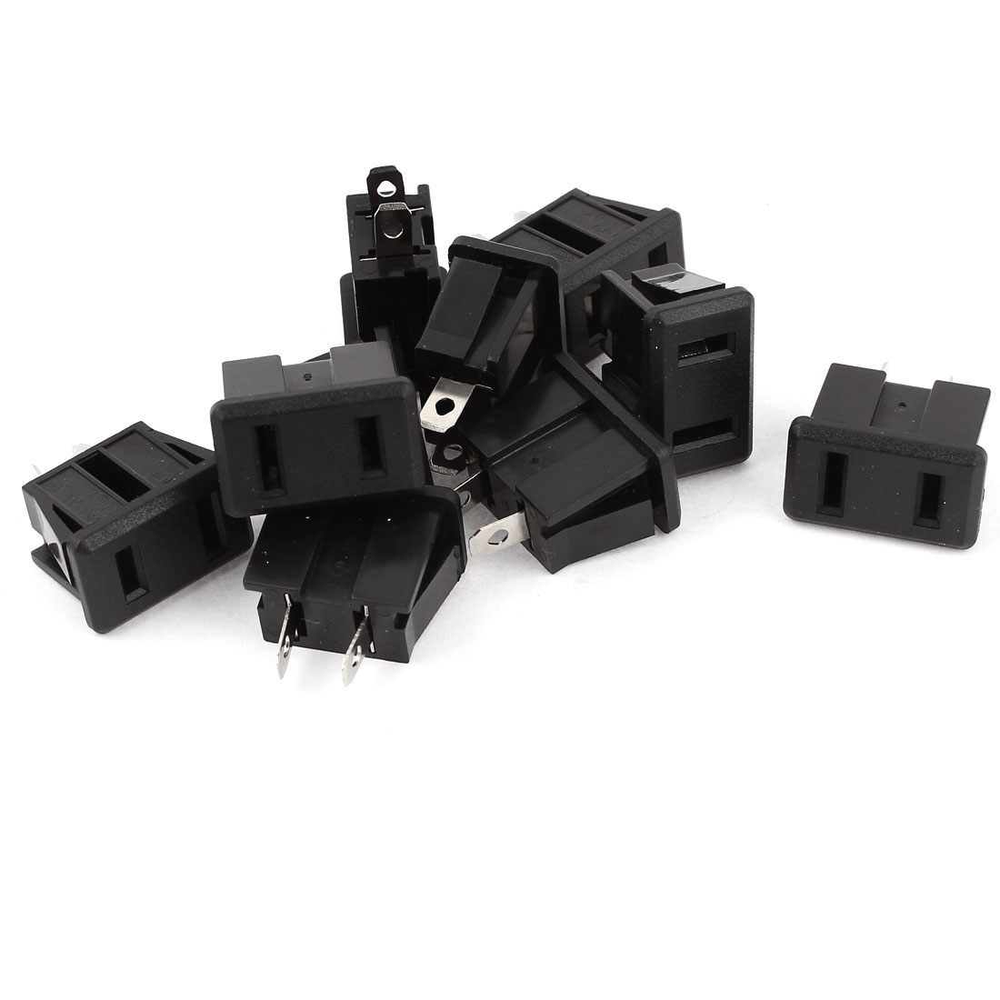 10 Pcs US AC 125V 15A Female Power Socket Connector Black