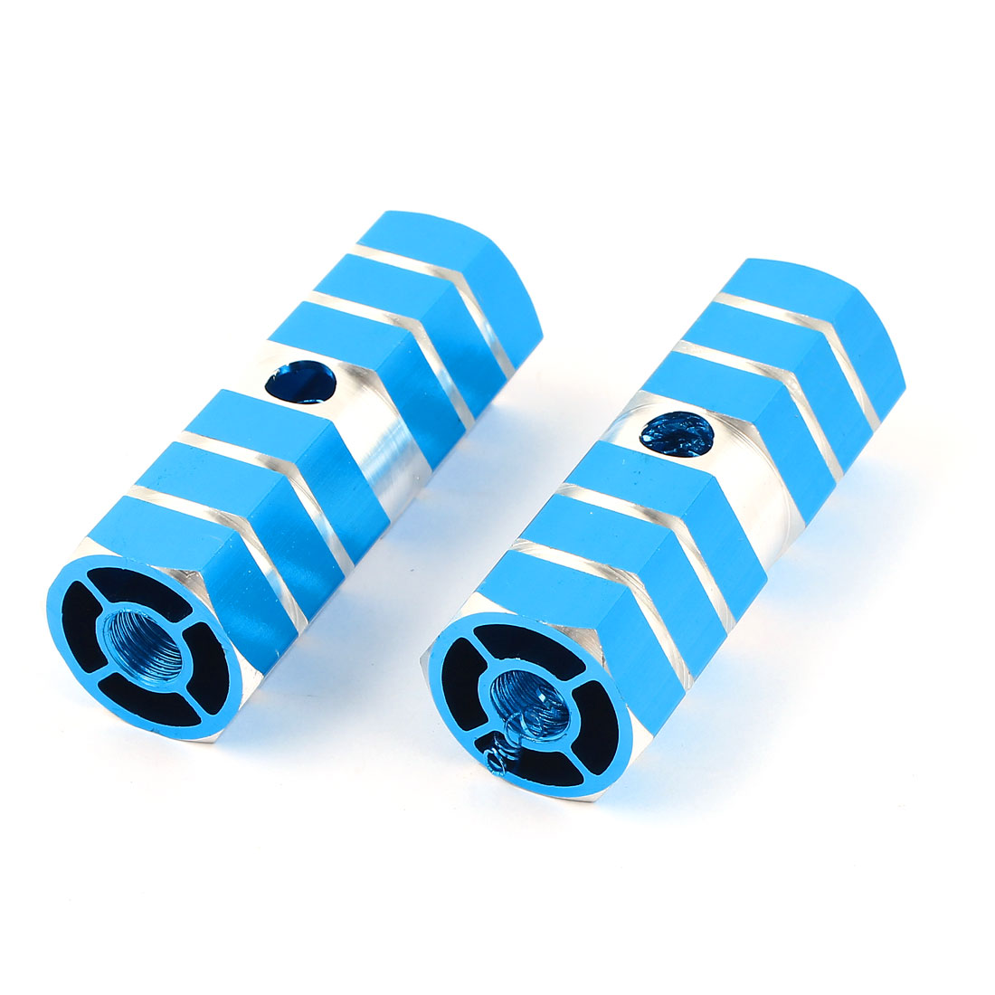 2 Pcs Mountain Bike Bicycle Part Sky Blue Aluminum Axle Foot Pegs 70x25mm