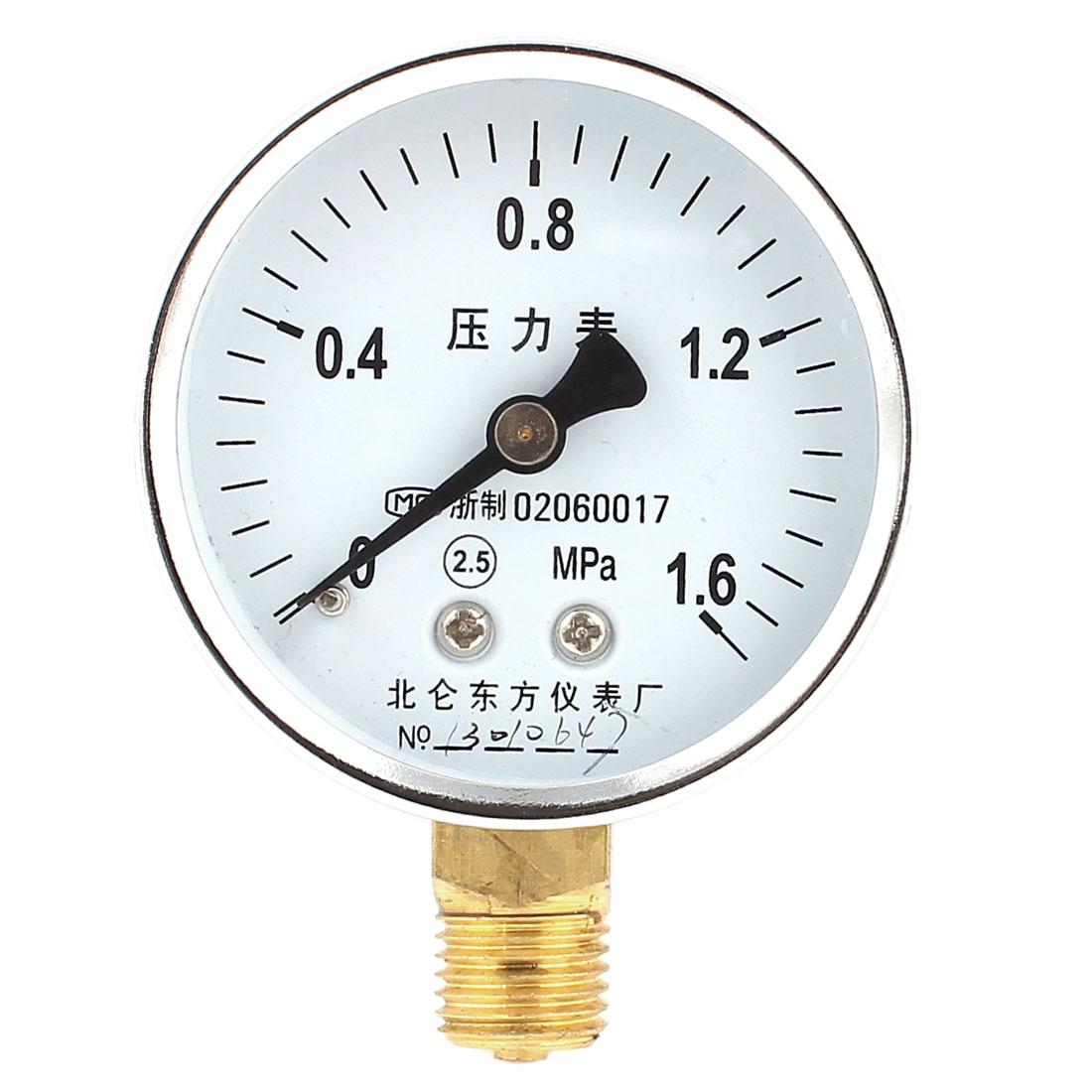 60mm Dial 1/4PT Thread 2.5 Precision Class 0-1.6Mpa Pressure Gauge