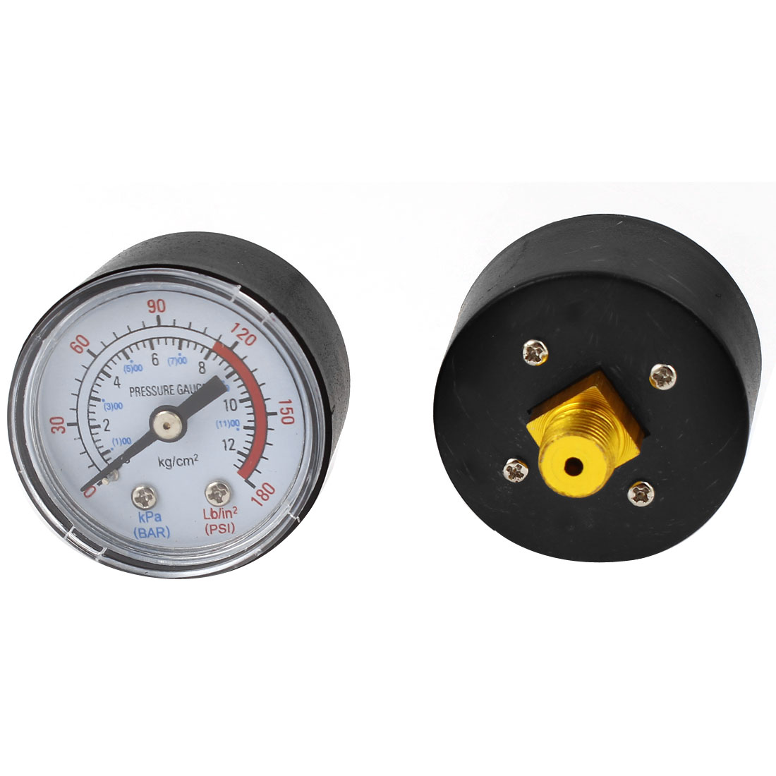 2 Pcs 40mm Dial 1/8PT Air Compressor Barometer Pressure Gauge 0-180Psi 0-12Bar