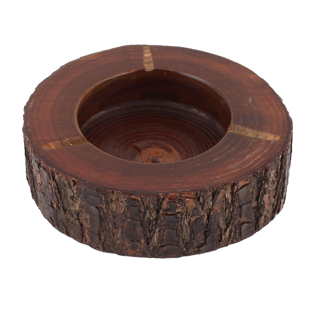 Home Office Brown Wooden Round Cigarette Ash Holder Ashtray