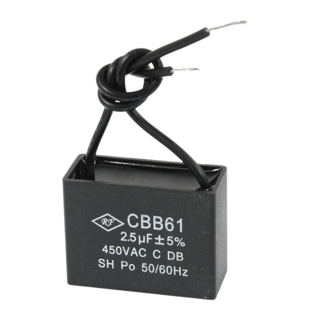 AC 450V 50/60Hz 2.5uF Rectangle Ceiling Fan Running Capacitor CBB61 Black