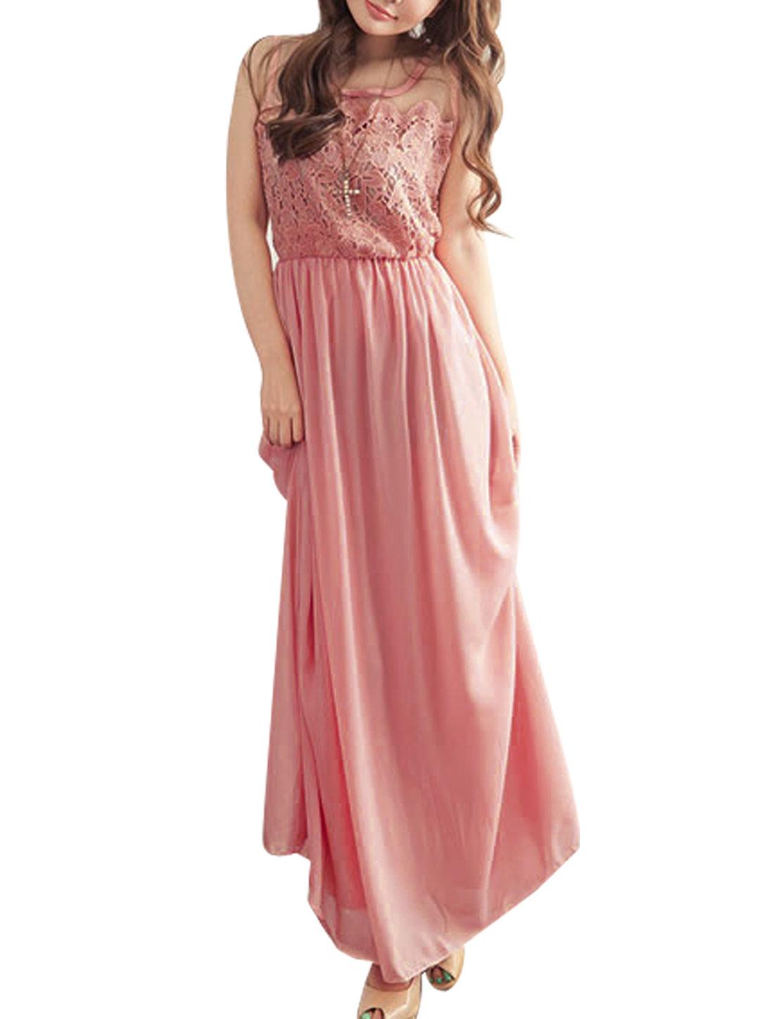 Womens Sleeveless Elastic High Waist Chiffon Full Length Dress Pink XS