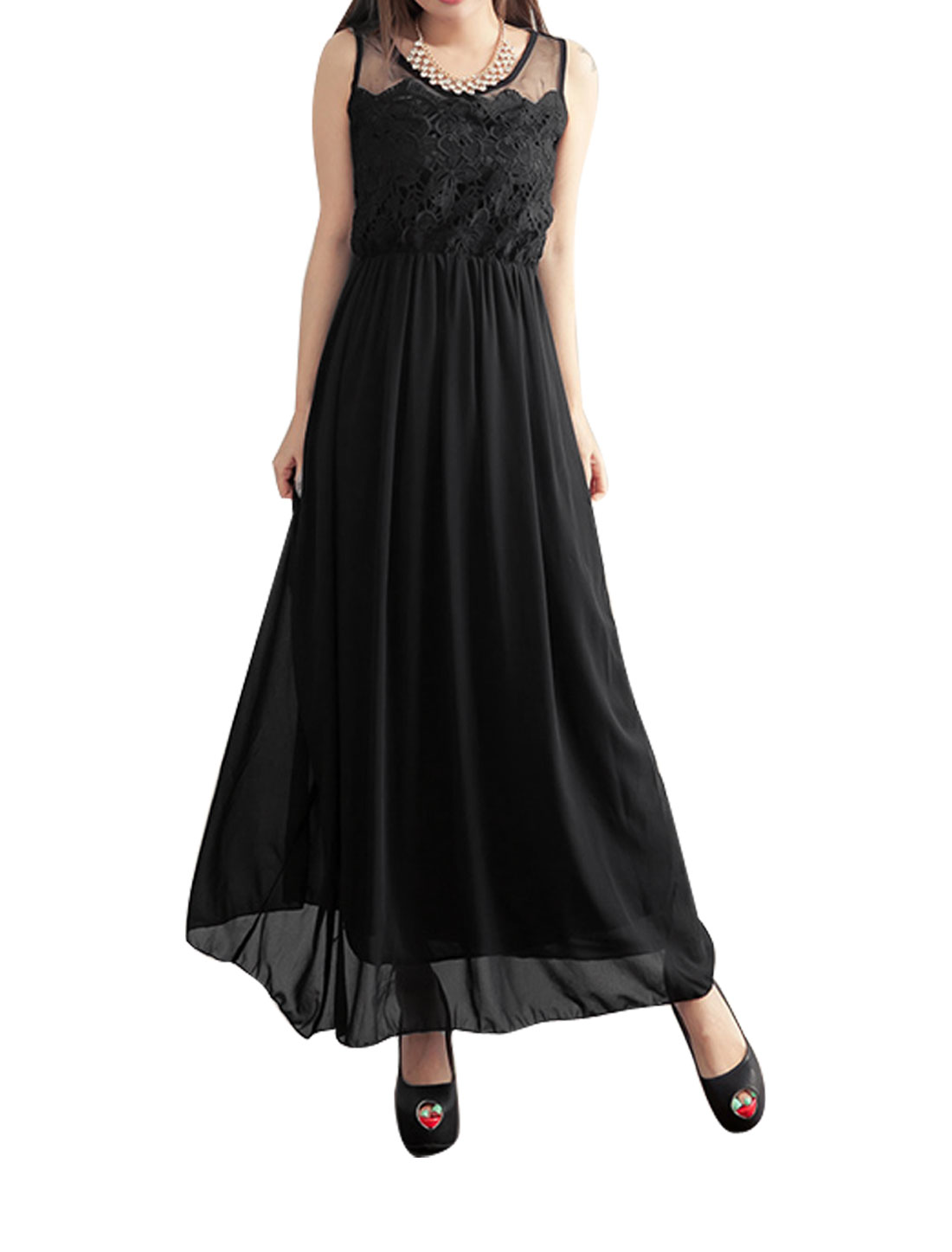 Ladies Bohemian Chiffon Sleeveless Elastic Waist Long Sundress Dress Black XS