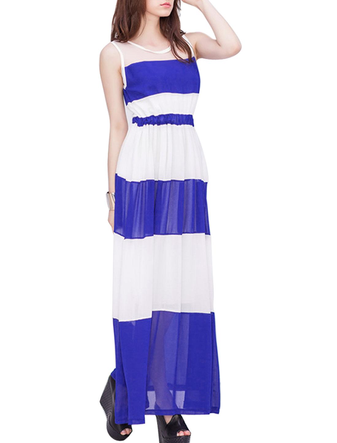 Women Mesh Spliced Sleeveless Block Color Chiffon Dress Blue XS