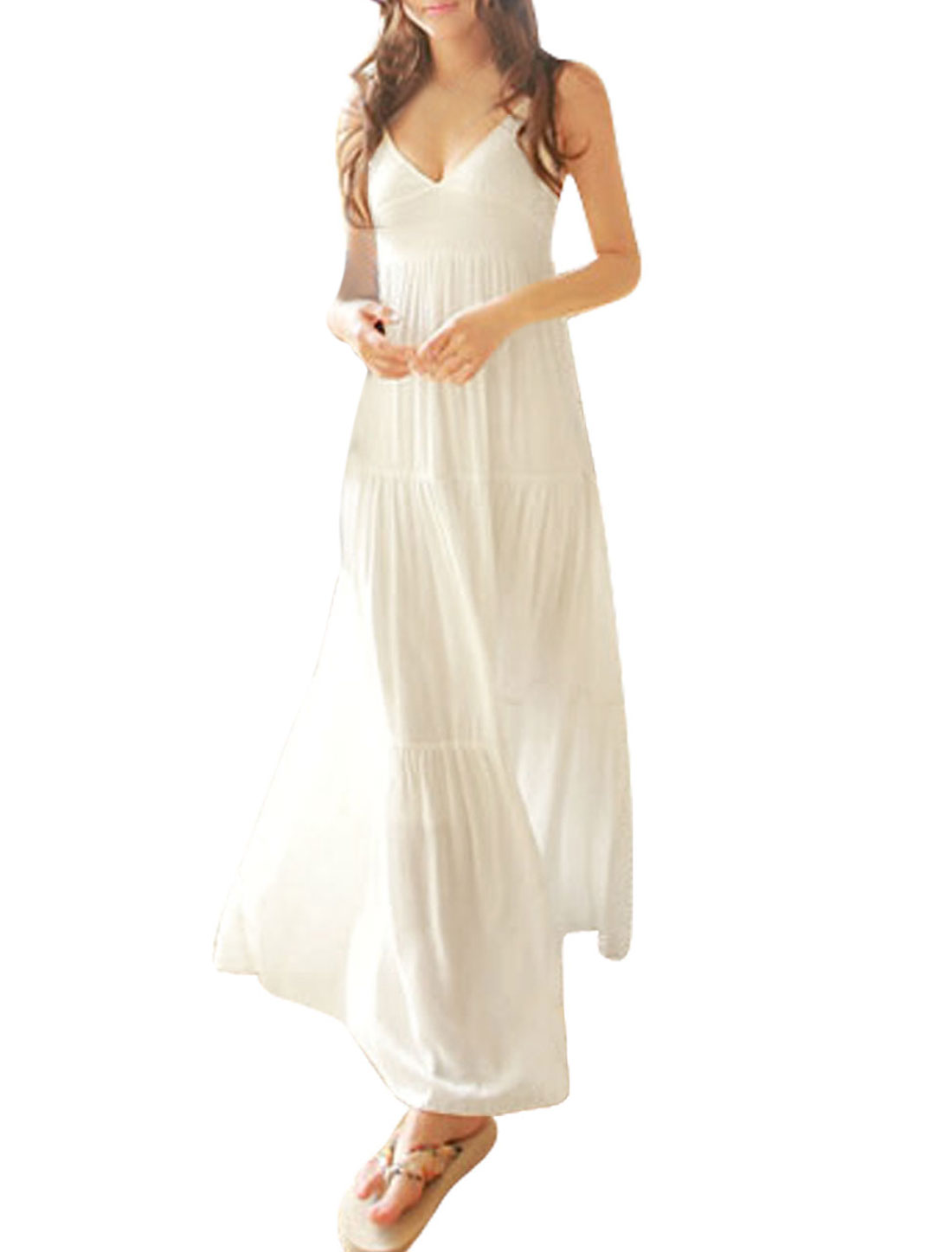 Women Deep V Neck Slip Strap Bohemian Full Length Spaghetti Dress White XS