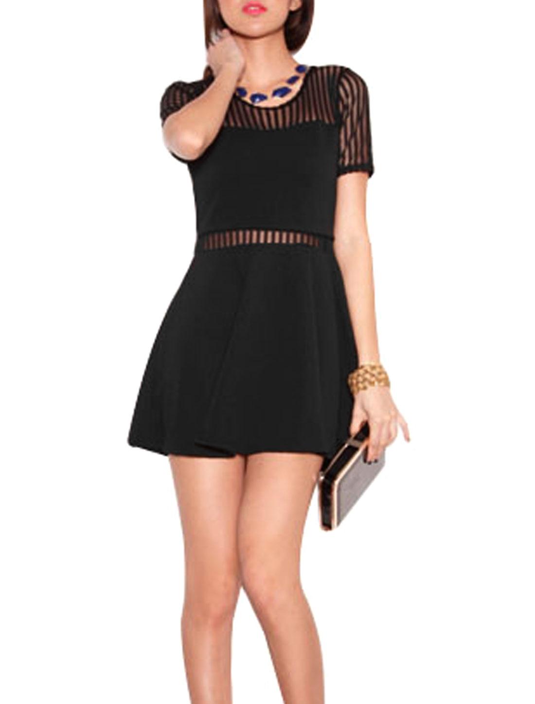 Women Organza Panel Semi Sheer Back Short Dress Black XS