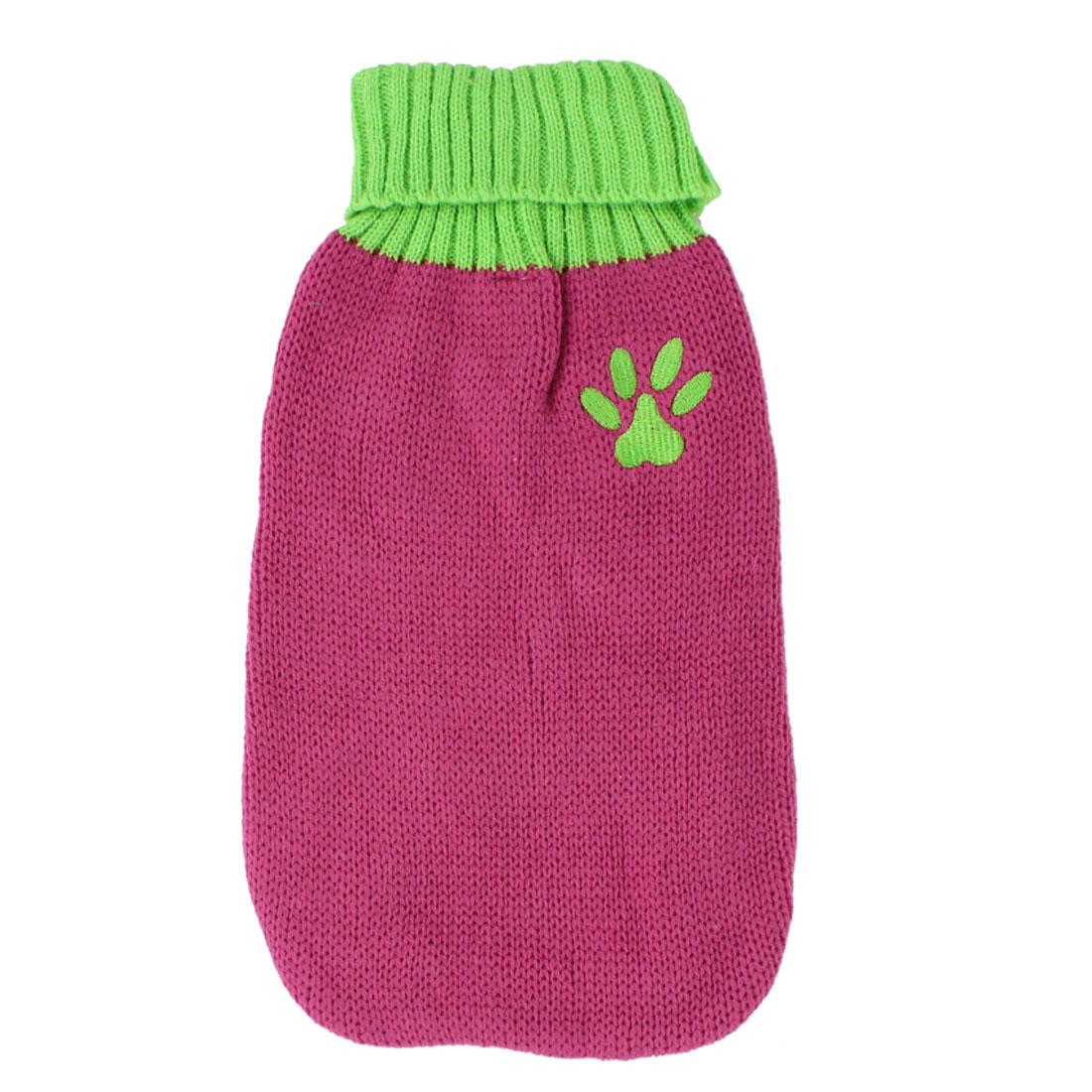 Pet Dog Doggy Ribbed Cuff Knitwear Turtleneck Apparel Sweater Fuchsia Yellow Green Size S
