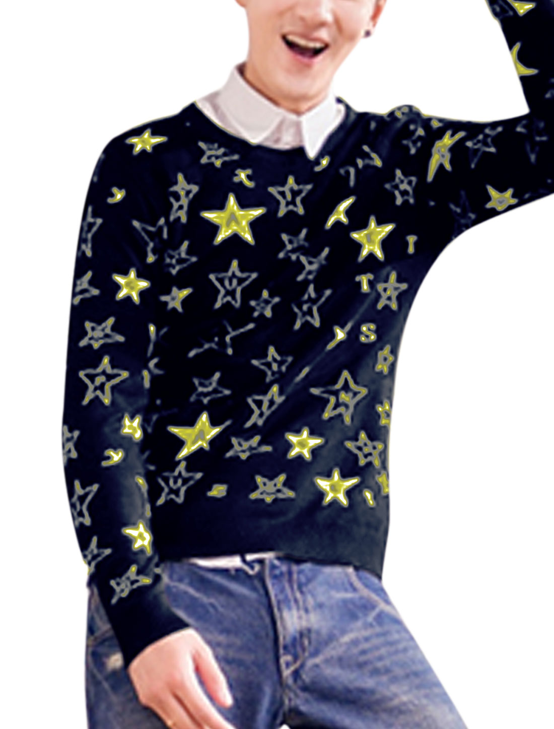 Man Stars Pattern Long Sleeves Pullover Navy Blue Sweater M