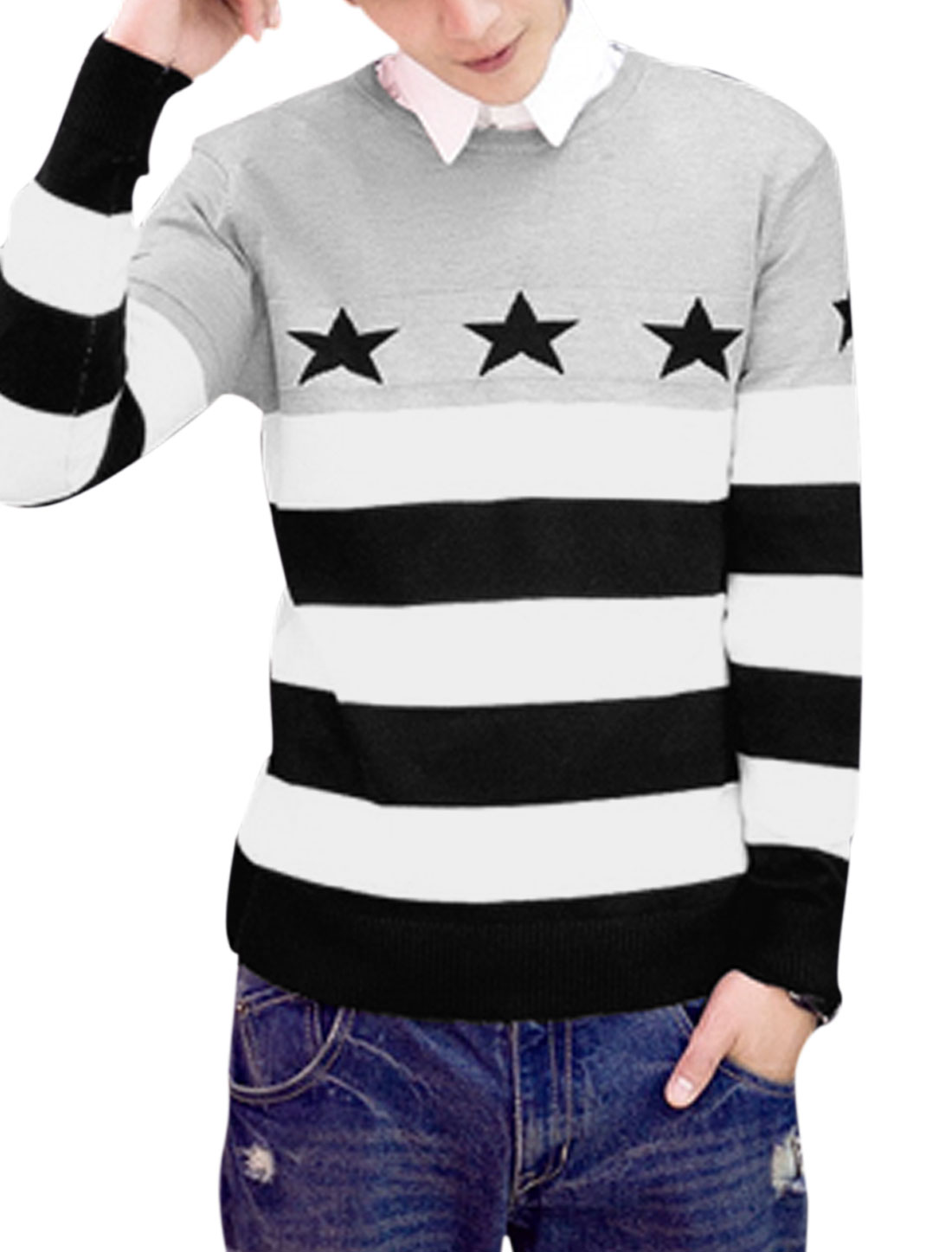 Men Crew Neck Stars Stripes Pattern Casual Sweater Light Gray Black M